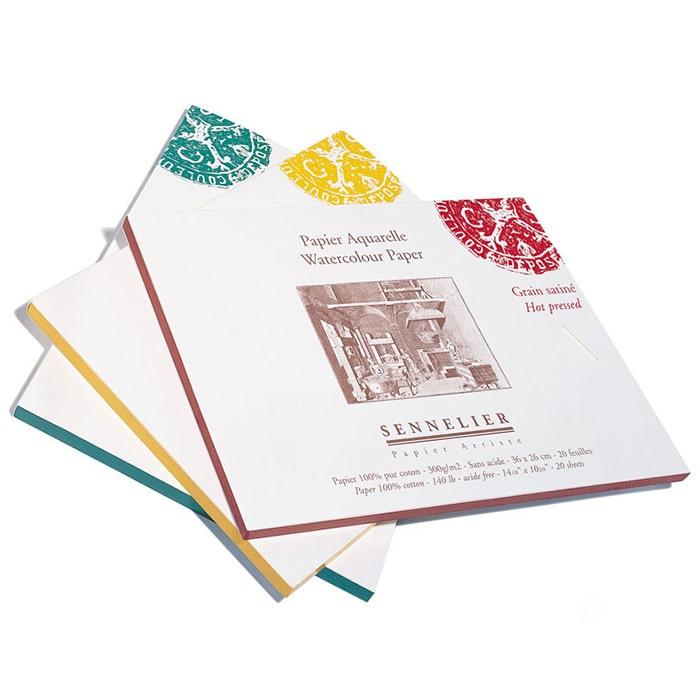Бумага для акварели Sennelier блок 20 листов - 30 х 30 см. 100% хлопок Cold Pressed (среднее зерно) 300 г/м
