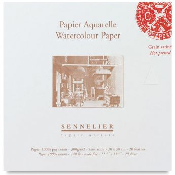 Бумага для акварели Sennelier блок 20 листов - 30 х 30 см. 100% хлопок Hot Press (гадкая) 300 г/м