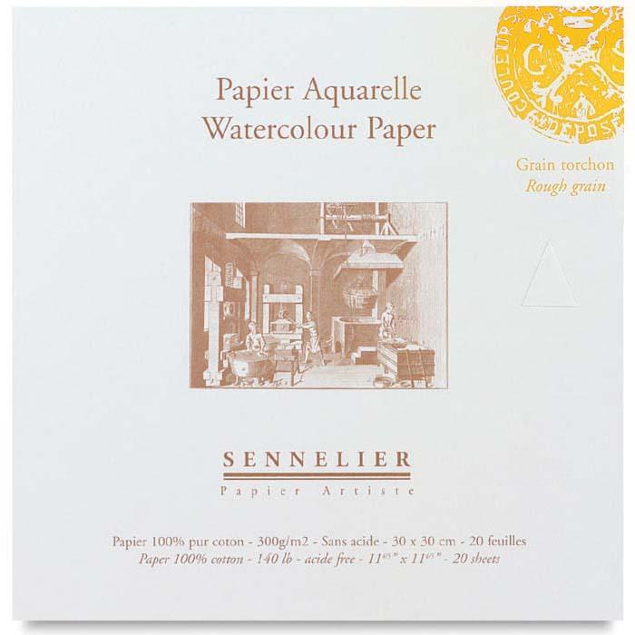 Бумага для акварели Sennelier блок 20 листов - 30 х 30 см. 100% хлопок Rough (грубое зерно) 300 г/м