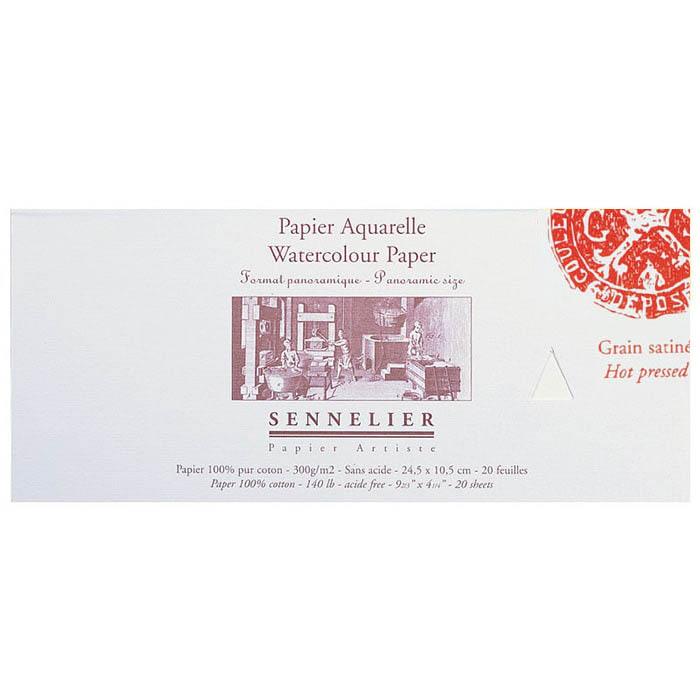 Бумага для акварели Sennelier блок 20 листов - 24,5 х 10,5 см. 100% хлопок Hot Press (гадкая) 300 г/м