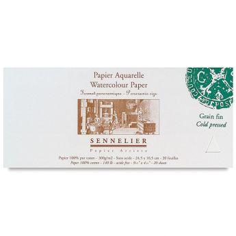 Бумага для акварели Sennelier блок 20 листов - 24,5 х 10,5 см. 100% хлопок Cold Pressed (среднее зерно) 300 г/м