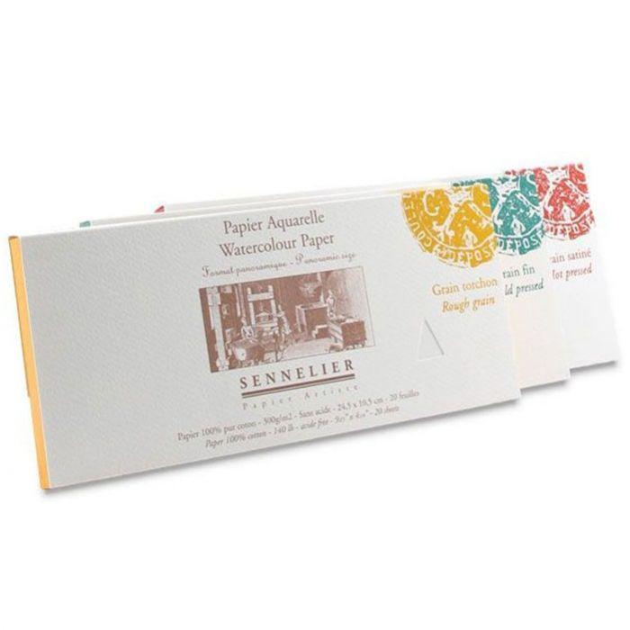 Бумага для акварели Sennelier блок 20 листов - 24,5 х 10,5 см. 100% хлопок Rough (грубое зерно) 300 г/м