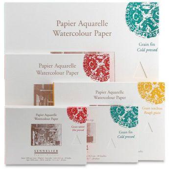 Бумага для акварели Sennelier блок 20 листов - 51 х 36 см. 100% хлопок Hot Press (гадкая) 300 г/м