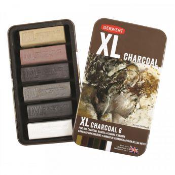 Derwent XL Charcoal Tin of 6. Набор из 6 мелков - блоков для графики