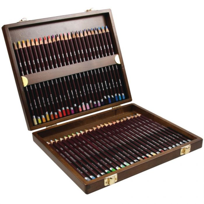 Набор цветных карандашей Derwent Coloursoft в деревянной коробке. 48 цветов