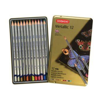 Набор цветных карандашей Derwent серия Metallic 12 цветов