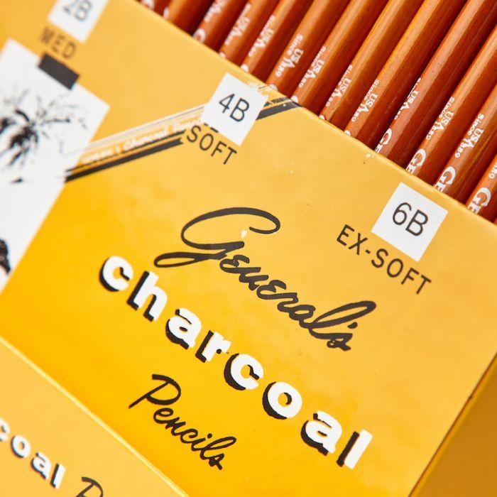 Угольные карандаши General (Дженерал) 2B Medium, 4B Soft, 6B Extra Soft, упаковка 72 шт.