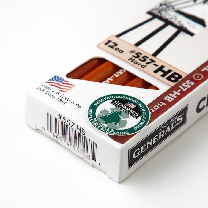Угольные карандаши General HB Hard (Дженерал), упаковка 12 шт.
