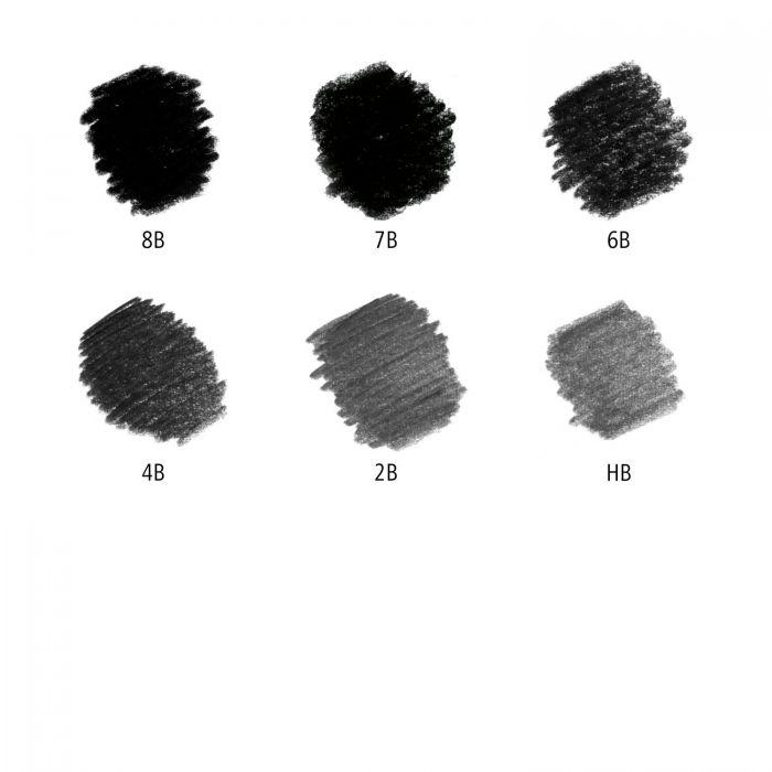 Набор из 6 графитно-карбоновых карандашей Staedtler Mars Lumograph Black твердость 2B-8B