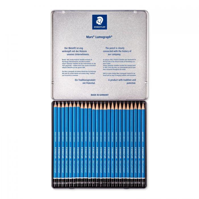 Набор из 24 графитных карандашей Staedtler Mars Lumograph, твердость 12B-10H