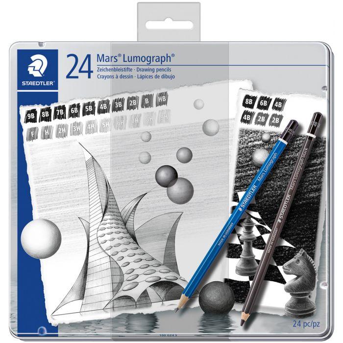 Набор из 24 графитных карандашей Staedtler Mars Lumograph, твердость 9B-9H и black 2B-8B