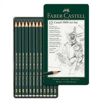 Набор из 12 графитных карандашей Faber Castell series 9000, твердость 8B-2H