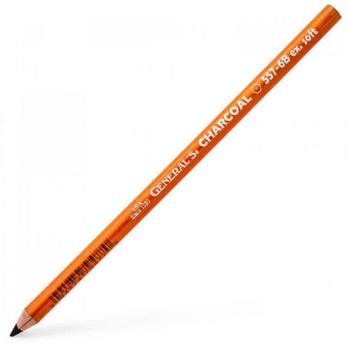 Угольные карандаши General 6B Extra Soft (Дженерал), упаковка 12 шт.