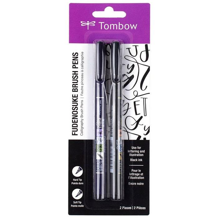 Ручка кисть Tombow Fudenosuke Brush Pen - набор 2 шт. с мягким и твердым наконечником