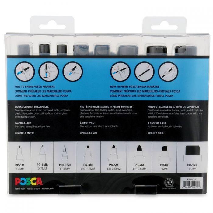 Uni Posca Paint Marker - набор из 8 ручек маркеров с различными наконечниками. Цвет черный