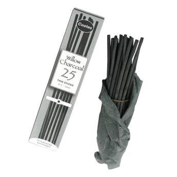 Уголь Coates древесный натуральный ивовый. Набор 25 палочек - Thin 2-3 мм