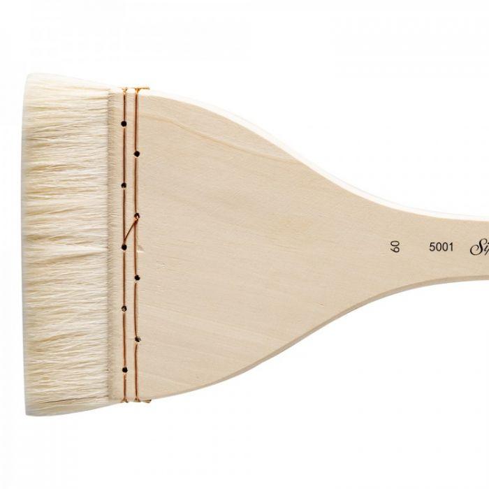Кисть для акварели Silver Brush Atelier Hake из шерсти козы 5001 плоская с длинной ручкой № 60