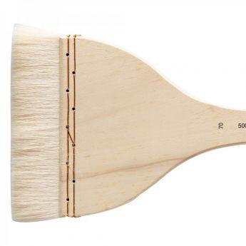 Кисть для акварели Silver Brush Atelier Hake из шерсти козы 5001 плоская с длинной ручкой № 70
