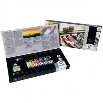 Набор масляных красок VAN GOGH Combiset от Royal Talens. 10 цветов в тубах 20 мл + (медиум, масленка, кисточки - 2шт)