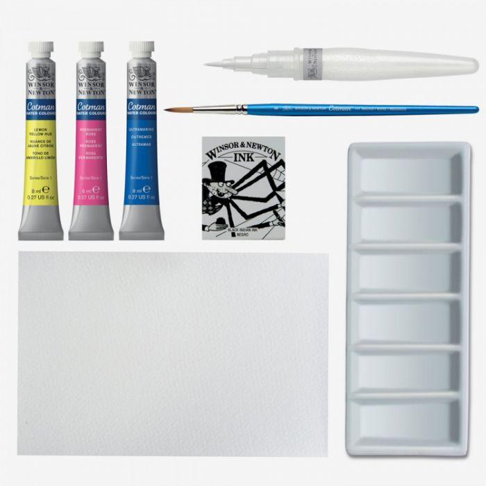 Набор Winsor & Newton: чистые открытки, акварель Cotman, палитра, тушь и кисти