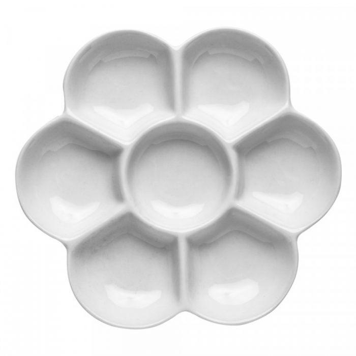 Керамическая палитра «Ромашка» на 7 лунок. Диаметр 12,5 см