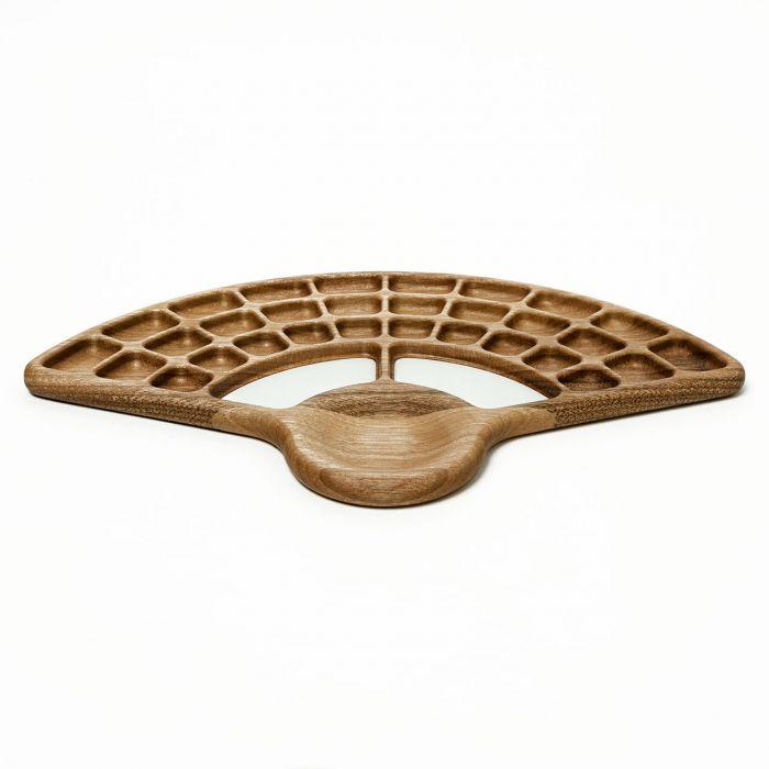"""Палитра деревянная для акварели """"Веер"""" - 1. Орех, водостойкий лак, пластиковые вставки. Ручная работа. Производитель Bernat Brothers"""