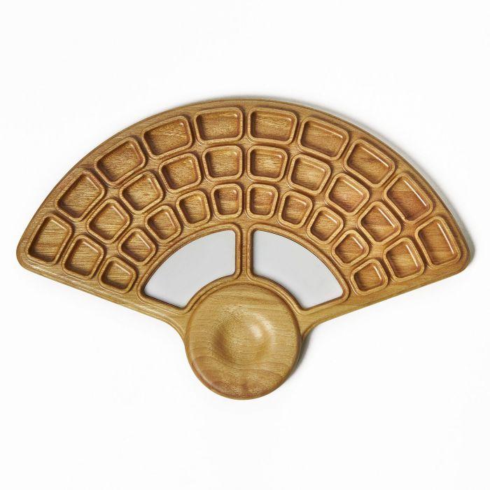 """Палитра деревянная для акварели """"Веер"""" - 2. Орех, водостойкий лак, пластиковые вставки. Ручная работа. Производитель Bernat Brothers"""
