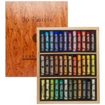 Пастель сухая Sennelier. Набор 36 мелков в деревянной коробке