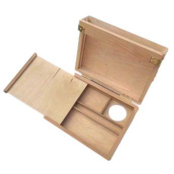 Деревянный мини этюдник с отсекими для красок и кистей (18х24 см)