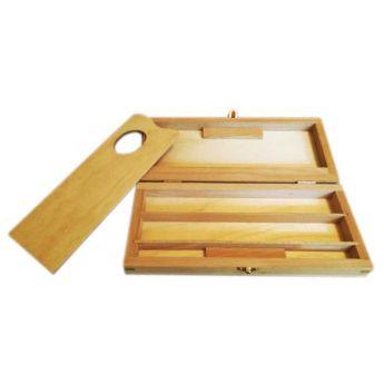 Деревянный пенал для красок и кистей, размер мини