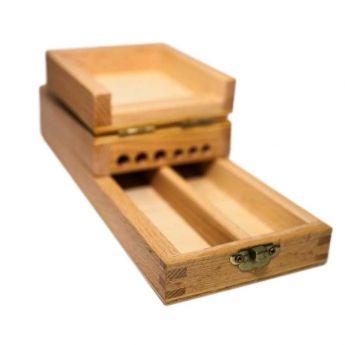 Деревянный пенал подставка для кистей, с отсеком для красок