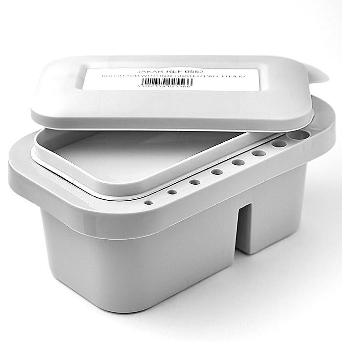 Пластиковая кистемойка контейнер и подставка для кистей, с крышкой-палитрой - 230 х 140 х 120 мм