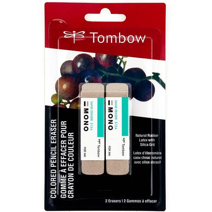 Ластик Tombow Mono Colored Pencil для цветных карандашей и чернил, упаковка 2 шт.